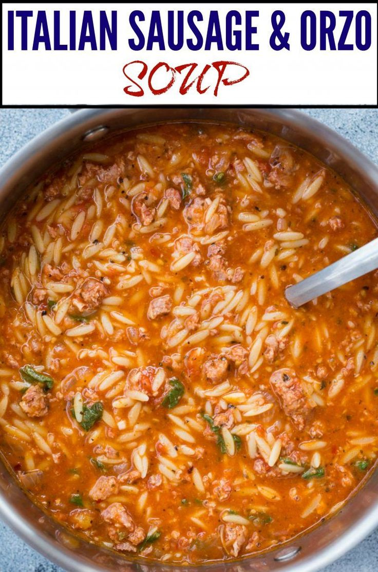 Mar 22, 2020 – This One Pot Sausage and Orzo Soup with Spicy Italian Sausage, Orzo Pasta with rich tomato flavour is del…