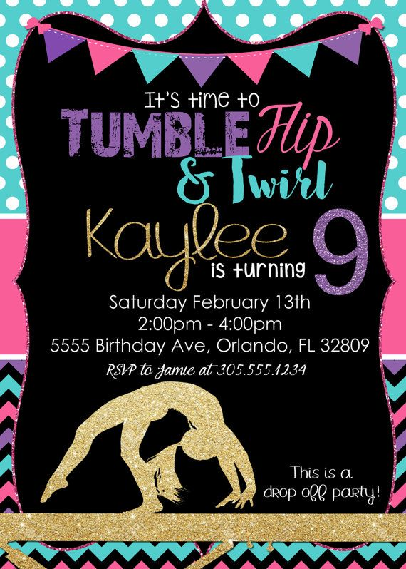 Gymnastics Birthday Invitation Tumbling by SimplyKayleeDesigns …