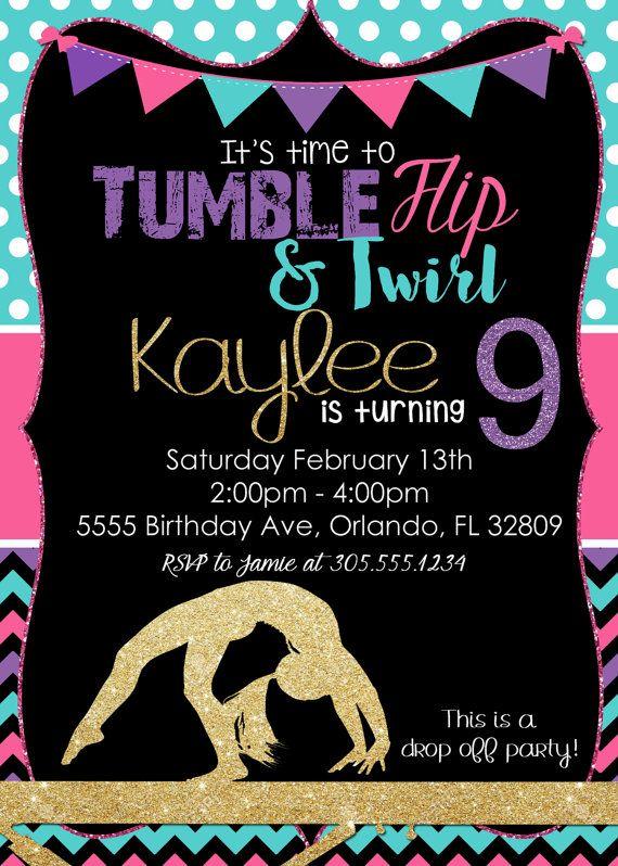 Gymnastics Birthday Invitation Tumbling by SimplyKayleeDesigns
