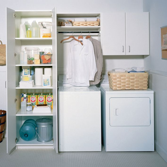 Small Laundry Room Organization Ideas | With a smart laundry room design, you can use cabinets to store your ...