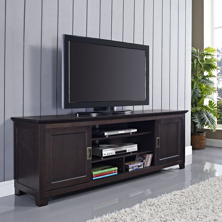 70 in Espresso Wood TV Stand with