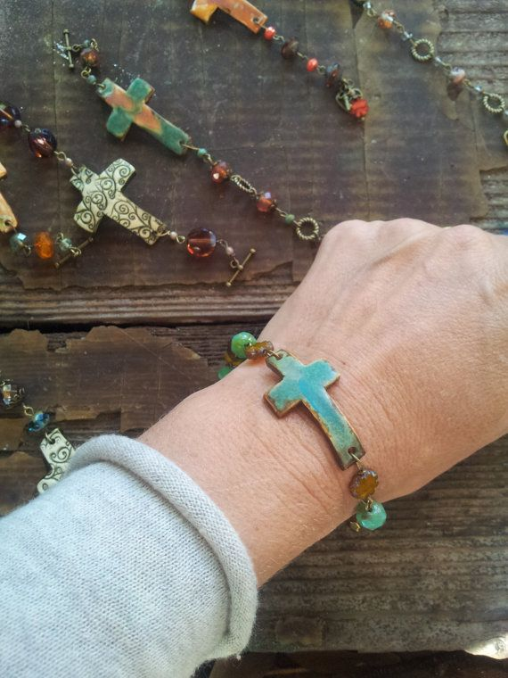 Sideways+cross+bracelet+handmade+pottery+bracelet+by+allcre8ive