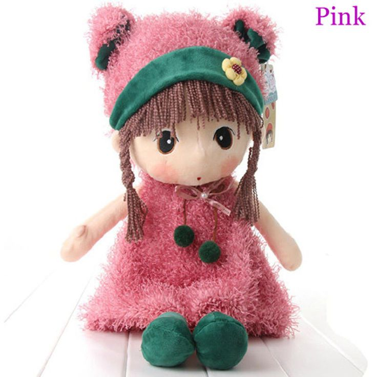 18 Inches Hot Pink/Green/White Color Stuffed Plush Lovely Little Girl Soft Toy #HWD