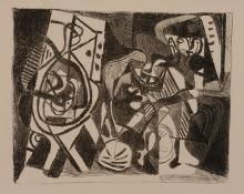 Pablo Picasso,  Scène d'intérieur, 1926,  litografia su carta Vélin, cm 33,2x51,3