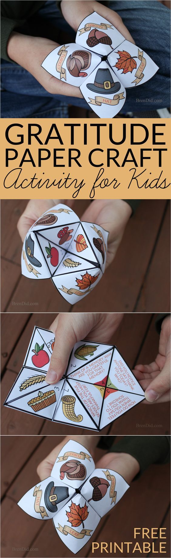 Help children practice thankfulness with this gratitude activity for kids. This easy Thanksgiving craft is a free printable Thanksgiving Cootie Catcher. Learn how to fold a cootie catcher / paper fortune teller on BrenDid.com: