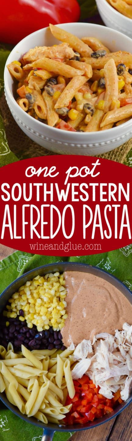 This One Pot Southwestern Alfredo Pasta is super easy to throw together, makes the perfect weeknight meal, and is absolutely delicious!