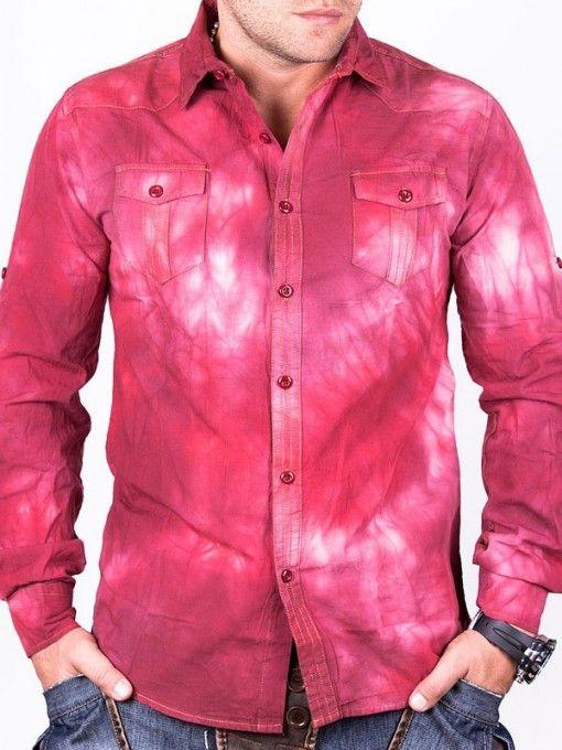 Camasa barbati Sergio cu maneca lunga rosie