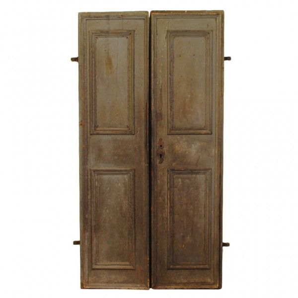 Pair of Painted Doors - of paneled construction, each side having a different color, with original hinges, locks, keys, and backplates