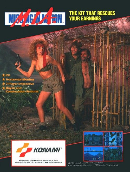 "M.I.A. Konami, were you even trying? While She-Rambo holds an inhumanly awkward post, two ""prisoners of war"" (who I can only assume work in the mail room) leer from within a bamboo cage."