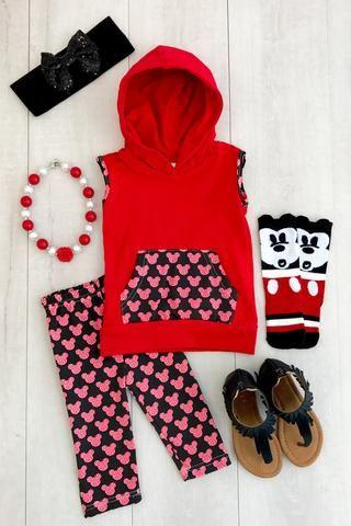 Red Mickey Hooded Tank Top & Capri Set