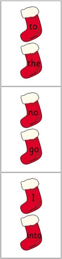 Tricky words from Letters and Sounds Phase 2 and 3 on Christmas stockings.