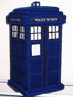 TARDIS: Homemade from yarn and plastic canvas, pattern published in DDWRPG #15, starting on page 36. http://homepages.bw.edu/~jcurtis/Diary%20of%20DWRPG%20-%20Issue%20015.pdf