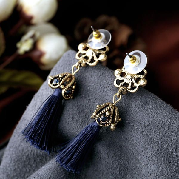 Women's Elegant Earrings Ethnic Hollow Flower Rhinestone Tassel Ear Stud Clothing Accessories at Banggood