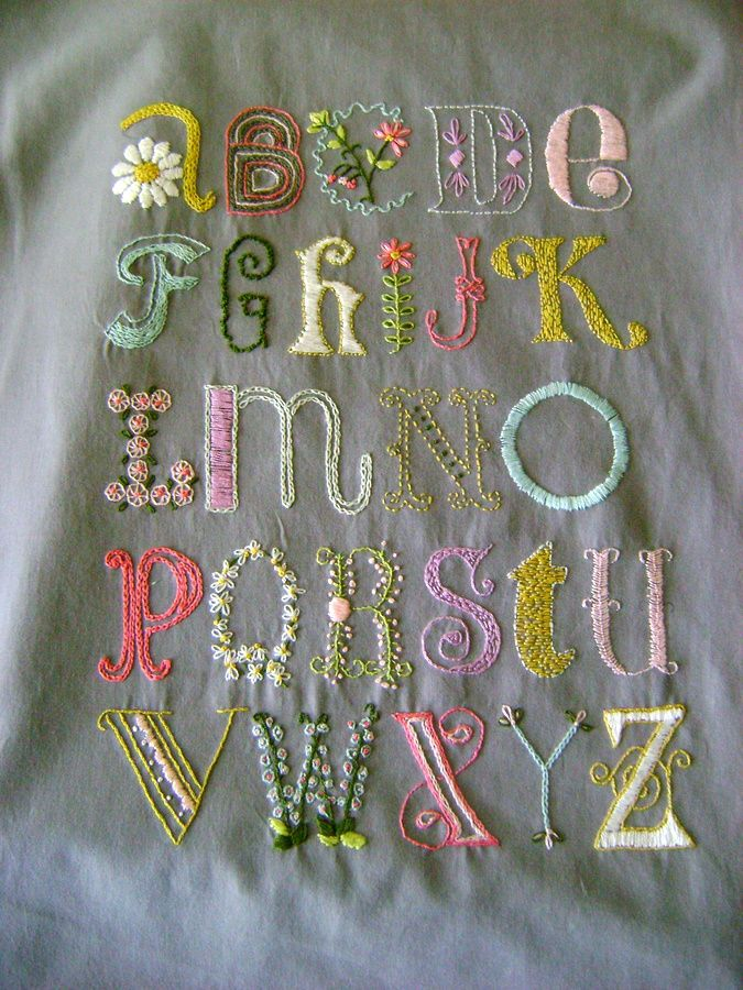 laura dodson's stitching of alicia paulson's sampler pattern. What could be better than typography and embroidery?