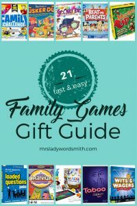 Enjoy quality time playing #games with your #family. This gift guide includes 21 great suggestions. See which ones are our family's favorites. #familytraditions #familygames #giftguide