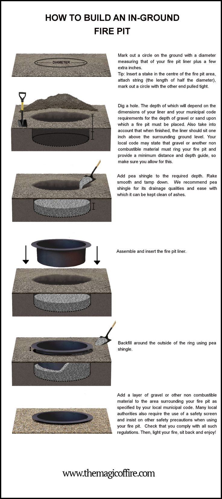 A step by step guide on how to build an in-ground fire pit   using a steel fire pit liner. For more information on designing, building and maintaining fire pits, go to: http://www.themagicoffire.com/blog/