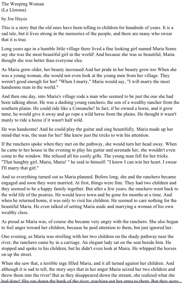 Story of la llorona