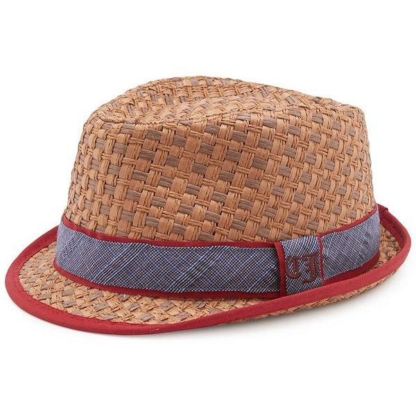 Cremieux Jeans Straw Checker Fedora ($30) ❤ liked on Polyvore featuring accessories, hats, straw fedoras, straw fedora hat, fedora hat and straw hats