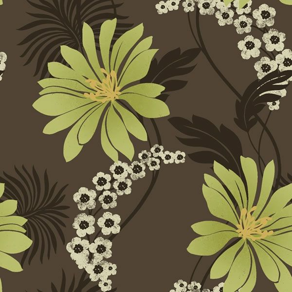 K2 Tahiti Wallpaper Lime Chocolate 96315 Floral Coloured Wallpaper From Wilkinson Plus