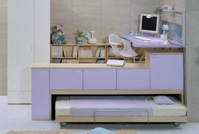 [판매완료]한샘 어린이 시스템가구 1층 침대, 2층 책상 일체형