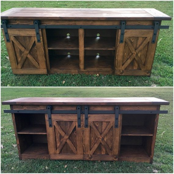 Tv Console Tv Stand Entertainment Center Barn Door Custom