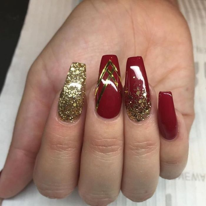 Apple Red Nails Red And Gold Nails Gold Nail Designs Gold Nails