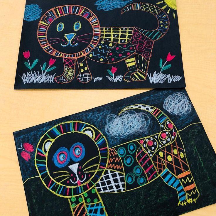1st Grade Line Pattern Lions. Crayola Color Sticks on black building paper