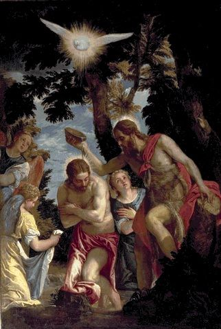 Paolo Veronese 1528 – 1588     The Baptism of Jesus     oil on canvas Palazzo Pitti, Florence     Paolo Veronese biography     This work is linked to Mark 1:9