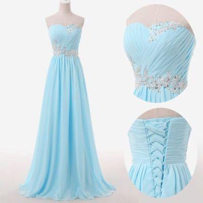 Light Blue Prom Dresses,Sweetheart Long Evening Dresses,Lace up Back Dresses,223