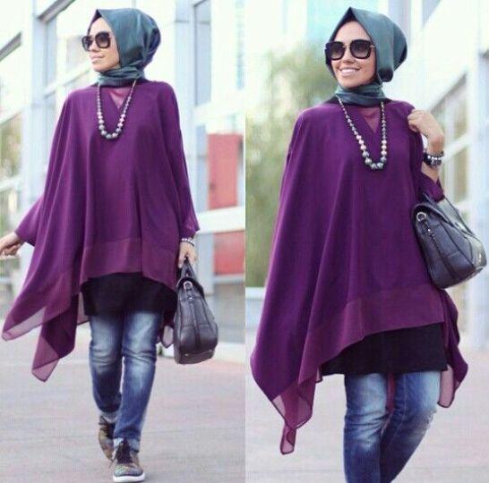 purple tunic hijab look, Hulya Aslan hijab fashion looks http://www.justtrendygirls.com/hulya-aslan-hijab-fashion-looks/