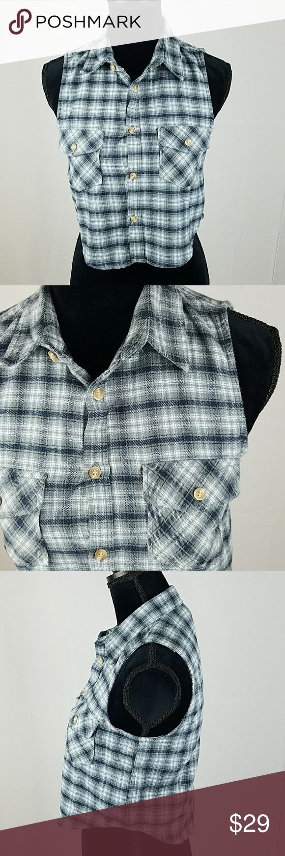 "Brandy Melville women crop plaid flannel Brandy Melville women crop plaid flannel button down vest sleeveless top.  Under arm to under arm: 17.5"" Length: 20"" Brandy Melville Tops Crop Tops"