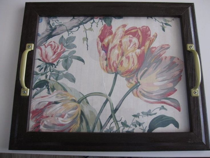 decorating walls with painted serving trays | OOAK WOOD SERVING TRAY TULIP FABRIC UNDER GLASS WALL DECOR ...