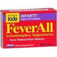 FeverAll Acetaminophen Suppositories, Infants Ages 3-36 Months. These are great for when your baby has a fever. Skip the oral tylenol and avoid future digestive issues, and don't deal with the spit ups. Not all drug stores carry them, so you need to look for them. But any drug store can order these for you.