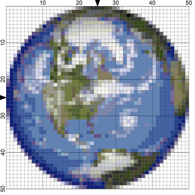 Stitch the planets Earth, Mars, Saturn and Jupiter for Astronomy class with these four free needlepoint charts.