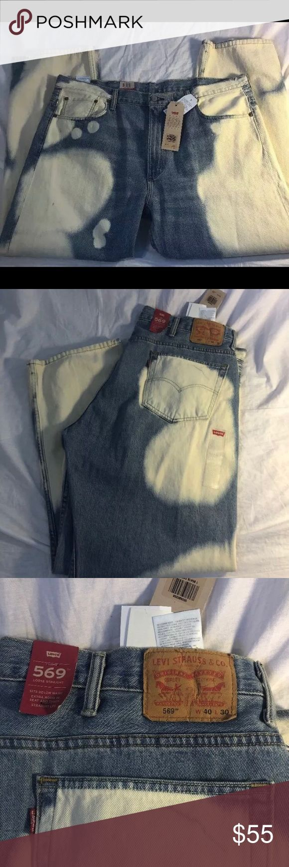 Levis 569 Mens Loose Straight 40 X 30 Blue White Levis 569 Mens Loose Straight Fit Denim Jeans 40 X 30 Blue White Bleached $69.50 Levi's Jeans Relaxed