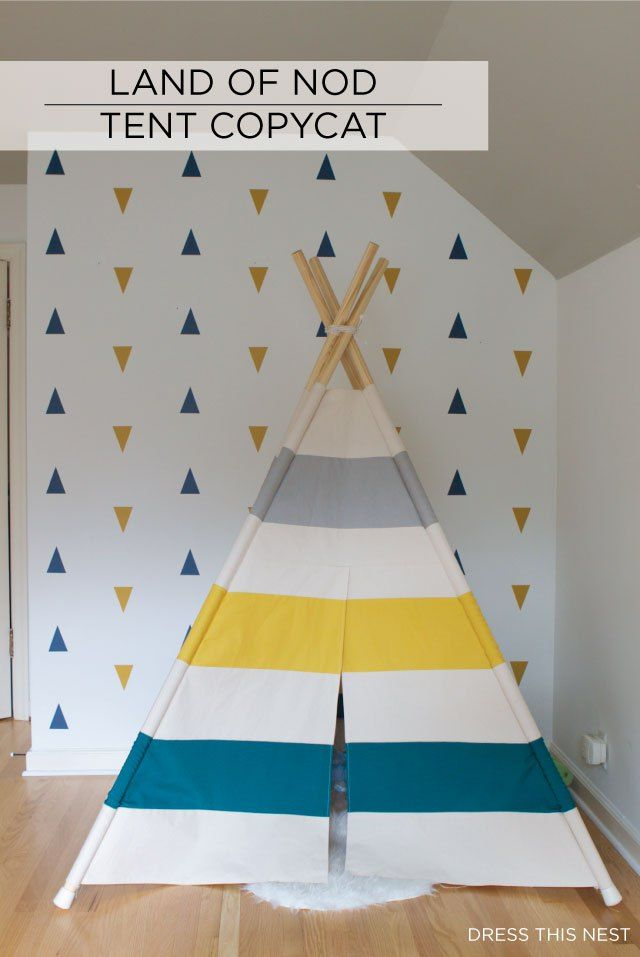 I made a teepee for my sonsu0027 room inspired by Land of Nod. Find out how here with detailed instructions and a pattern to make it yourself!  sc 1 st  Pinterest & I made a teepee for my sonsu0027 room inspired by Land of Nod. Find ...