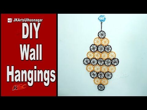 How to make Wall Decoration with waste Bangles and woolen thread | JK Arts 942 - YouTube