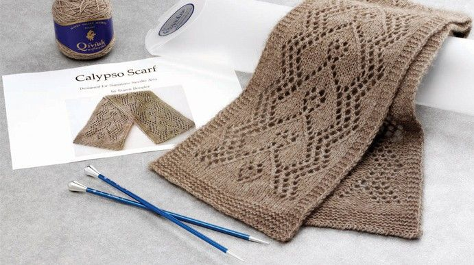 Calypso Lace Scarf Kit - Designed by Eugen Buegler with Qiviut Knitting P...