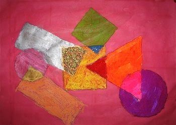Abstract art with shapes. To do with a geometry lesson.