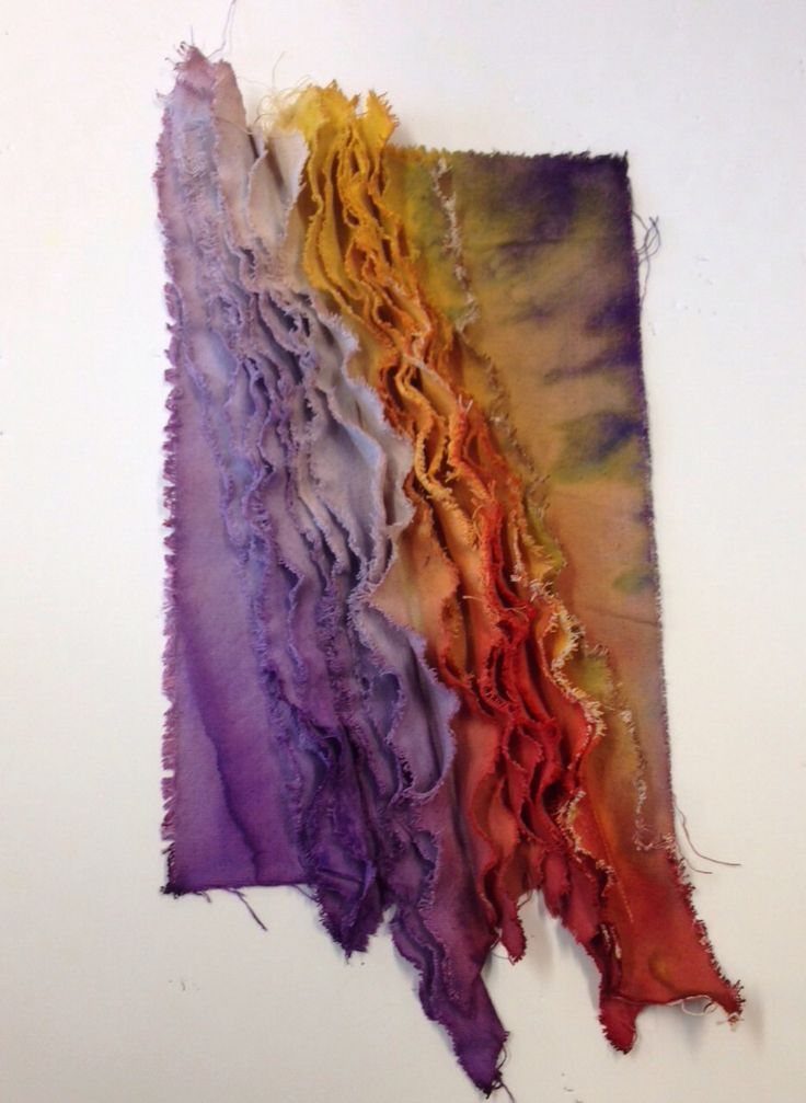 distressed canvas strips stitched to create 3D layers, dyed and manipulated for patterns. Inspired by Margaret Crowther