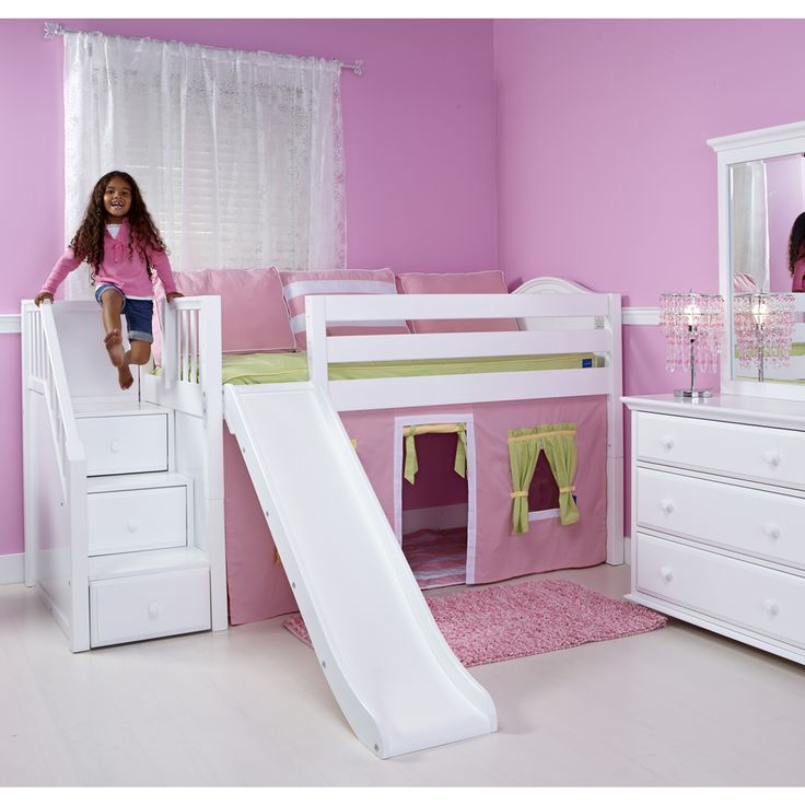 Maxtrix Delicious Playhouse Low Loft In White W Stairs Slide Curve Bed Ends