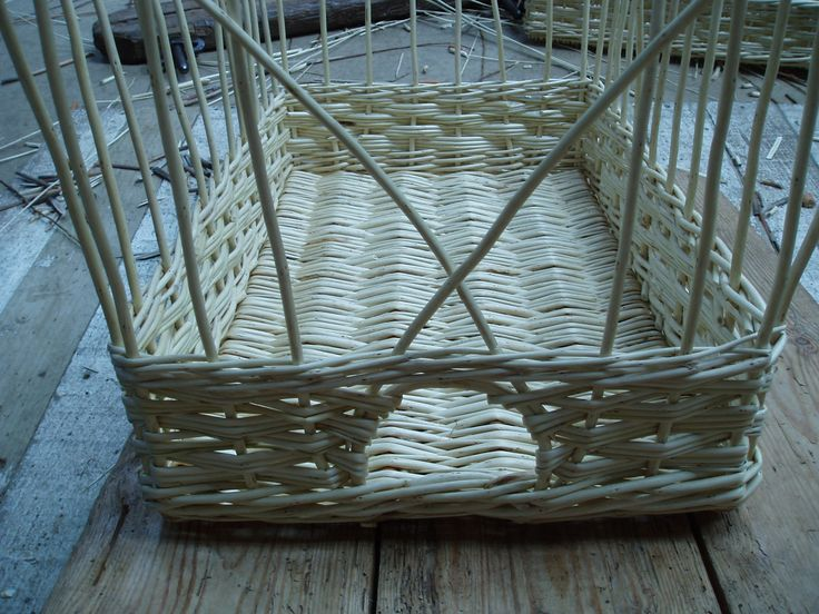 """white basket 14 x 22 x 5"""" high.  All the weave done (slewed weave) and top wale.  Basket is now ready for bordering down."""