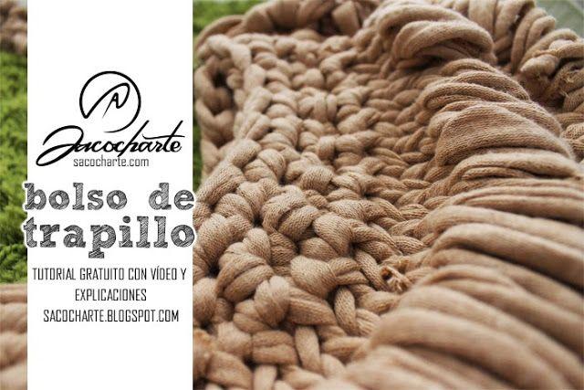 Bolso de Trapillo a 2 agujas - Patrón Gratis en Español aquí: http://sacocharte.blogspot.com.es/2013/07/tutorial-paso-paso-para-tejer-un-bolso.html