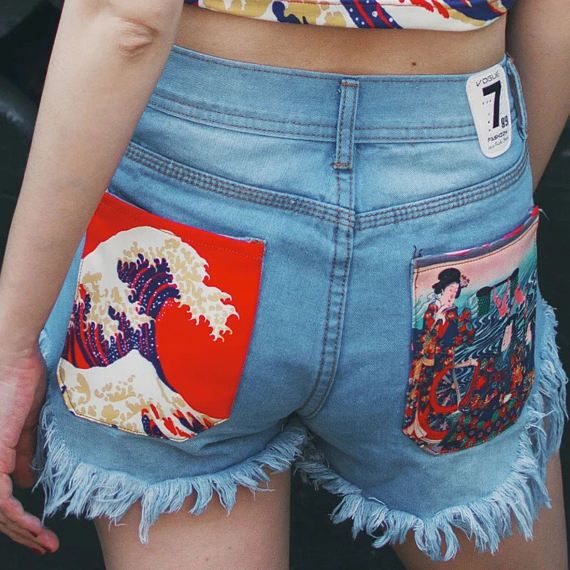 Lost in Kyoto Collection Japanese traditional painting print pocket ripped jeans shorts from PurpleFishBowl