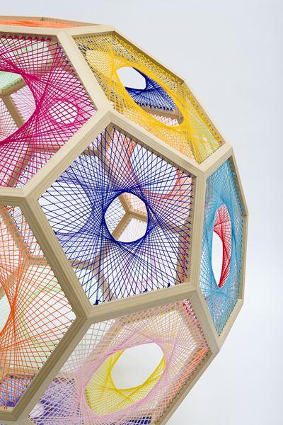 Nike Savvas | Sliding Ladder  Sliding Ladder: Truncated Icosahedron #1  wood, wool and steel, 130 x 130 cm