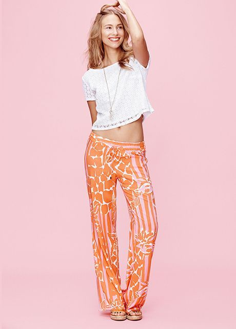 Lilly Pulitzer for Target Crochet Crop Top - White, $32; Palazzo Pant - Giraffeeey, $28, available at Target.