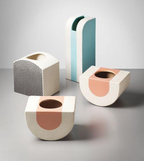 PHILLIPS : UK050213, ETTORE SOTTSASS JR, Group of four vases, model nos. 451, 452, 454