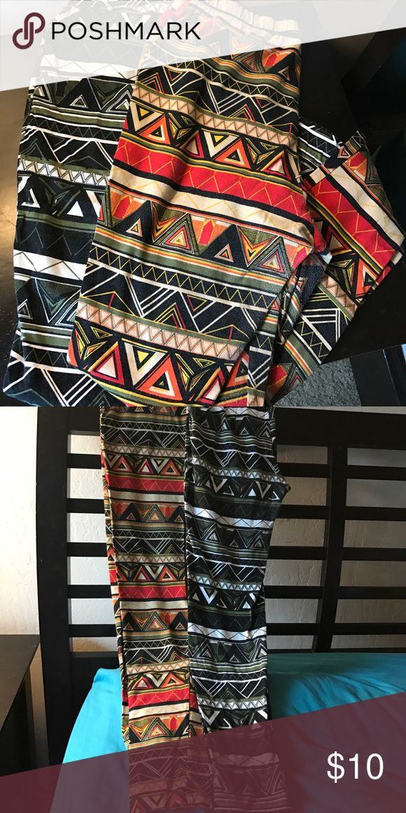 Ashley Stewart tribal print leggings! Gently worn Tribal print leggings by Ashley Stewart. Soft, comfy and super cute 💕💥🔥 I love these! Will sell for $10 each or make me a reasonable offer for both 🤗 Ashley Stewart Pants Leggings