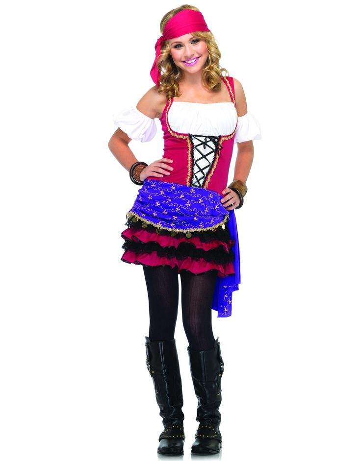 Crystal Ball Gypsy Teen Costume - Includes: Dress, arm puffs and headscarf. Does not include stockings or shoes. Teen (Small/Medium).