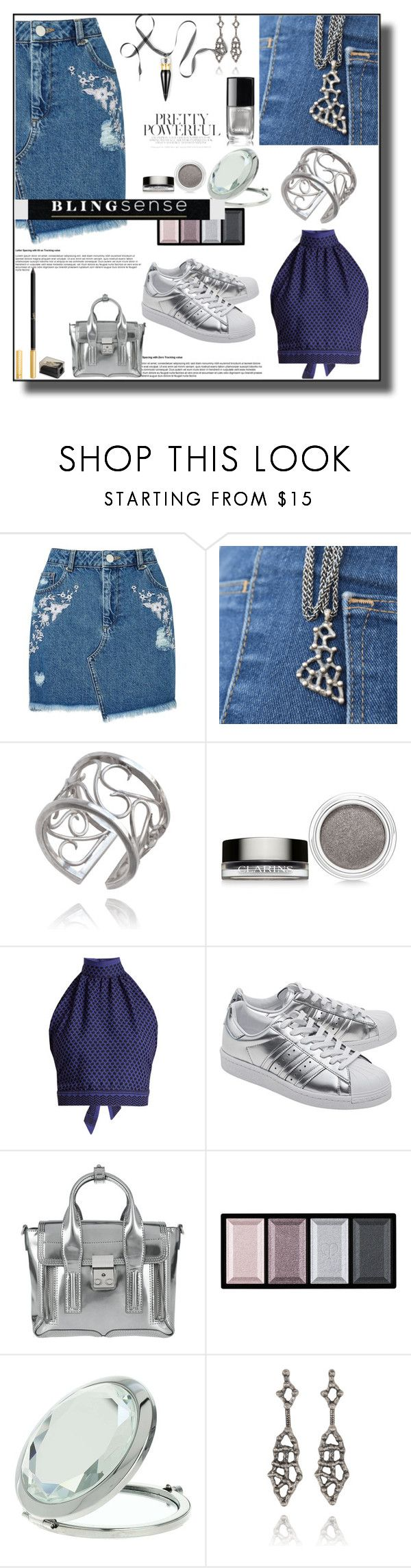 """""""Skirt and Sneakers!!"""" by sabine-promote ❤ liked on Polyvore featuring Miss Selfridge, Clarins, CECILIE Copenhagen, adidas Originals, 3.1 Phillip Lim, Clé de Peau Beauté, Chanel and Christian Louboutin"""